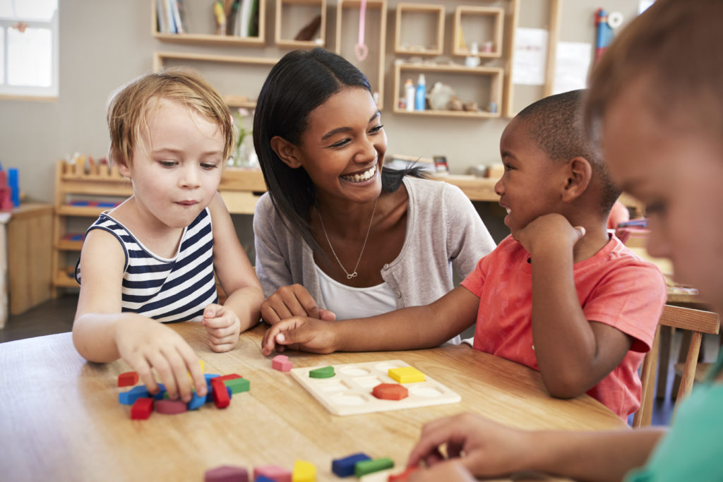 Center director working with children