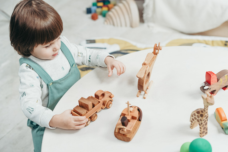 Boy in White and Green Long Sleeve Shirt Playing Brown Wooden Toys